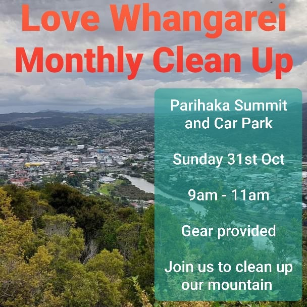 view of whangarei from parihaka summit with event info over top
